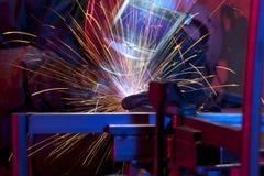 Welder erecting technical steel Royalty Free Stock Images