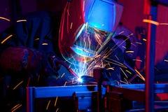 Welder erecting technical steel Royalty Free Stock Photo
