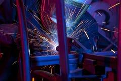 Welder erecting technical steel Stock Photo