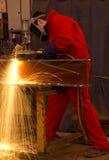 welder för red för snittmetalloveraller Royaltyfri Fotografi