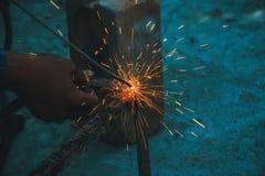 Welder för svetsningstålstrukturer Royaltyfri Fotografi