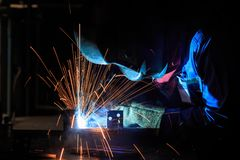 Welder is fabricated use gas metal arc welding process Stock Photography