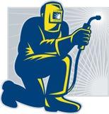 Welder Fabricator Welding Kneeling. Illustration of a welder fabricator welding kneeling on one knee facing front done in retro woodcut style Royalty Free Stock Photo