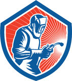 Welder Fabricator Welding Torch Side Shield Retro Royalty Free Stock Images