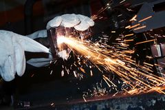 Welder in a factory Stock Photo