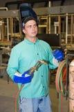 Welder on Factory Floor Stock Image