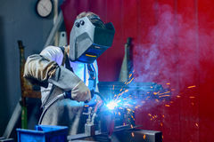 Welder in factory Stock Photography