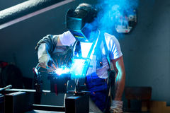 Welder in factory Royalty Free Stock Photos