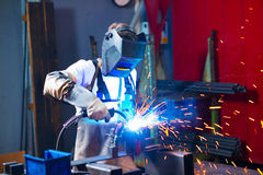 Welder in factory Royalty Free Stock Photography