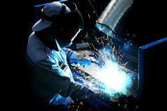 Welder in factory Royalty Free Stock Images
