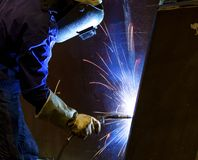 Welder in factory Royalty Free Stock Image