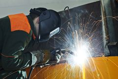 Welder at factory workshop Stock Photography
