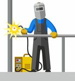 Welder, full-colour picture. The welder welds the pipe. Vector picture. Color flat illustration on white background stock illustration