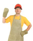 Welder in gloves and apron. Stock Images