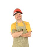 Welder in gloves and apron. Royalty Free Stock Image
