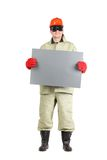 Welder in hard hat with paper. Stock Images