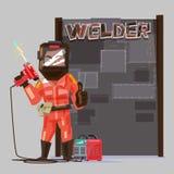 Welder i för innehavgas för skyddande maskering en maskin för svetsning svetsat stock illustrationer