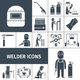 Welder Icons Black Set. Welder decorative icons black set with worker equipment isolated vector illustration Royalty Free Stock Photography