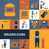 Welder Icons Set. Welder and blacksmith laborer decorative icons set isolated vector illustration Royalty Free Stock Photo