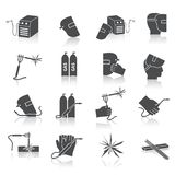 Welder Icons Set. Welder industry construction work repair and manufacturing instruments black icons set isolated vector illustration Royalty Free Stock Photos
