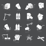 Welder icons set. Welder industry industrial tools safety and protection icons set isolated vector illustration Stock Photo