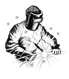 Welder. Ink black and white drawing of a welder Stock Photos