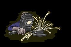 Welder isolated on black. Vector illustration for Your design, eps10 Royalty Free Stock Photos