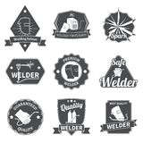 Welder labels set. Welder industry construction work repair and manufacturing instruments labels set isolated vector illustration Stock Photography