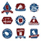 Welder labels set. Welder industry worker instrument premium quality labels set isolated vector illustration Royalty Free Stock Images