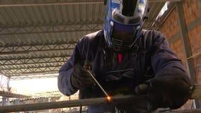 Welder labor arc welding stock footage