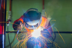 Welder on location Royalty Free Stock Image