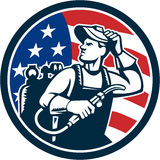 Welder Looking Side USA Flag Circle Retro. Illustration of a welder rod-holder with cable and electrode for electric arc welding and welder visor mask looking to Stock Photos