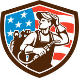 Welder Looking Side USA Flag Crest Retro Royalty Free Stock Image