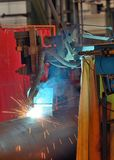 Welder machine performs welding Stock Images