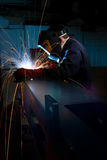Welder making box section. Welder in fabrications factory constructing a metal box section Stock Image
