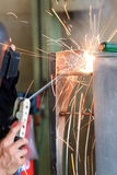 Welder man are working. Royalty Free Stock Image