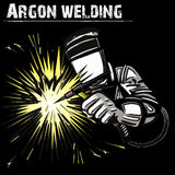 Welder in a mask performing argon welding of the metal. Black background. Vector illustration Royalty Free Stock Image