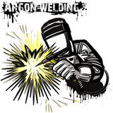 Welder in a mask performing argon welding of the metal. White background. Vector illustration Stock Image