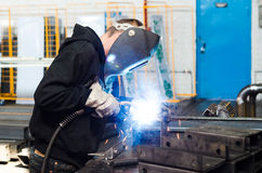 Welder metal construction. Welder at the factory working with metal construction Royalty Free Stock Images
