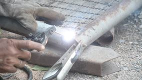 Welder metal pipe stock video footage