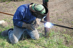 Welder outdoor working Royalty Free Stock Image