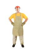 Welder with plastic protective face and apron. Stock Images