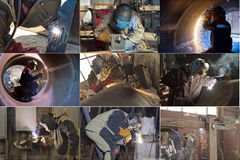 The welder produces samples stock image