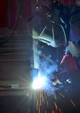 Welder with protective mask welding Royalty Free Stock Photos