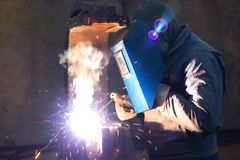 Welding of metal structures Royalty Free Stock Photography