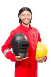 Welder in red overalls Stock Photography