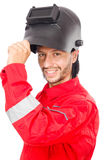 Welder in red overalls Royalty Free Stock Image