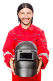 Welder in red overalls Royalty Free Stock Images