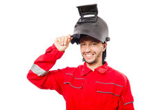 Welder in red overalls Royalty Free Stock Photo