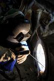 Welder repair bore by shield metal arc welding Royalty Free Stock Photo